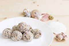 Bio raw vegan coconut truffle Royalty Free Stock Images