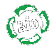 Bio recycling. Illustration, green arrow hand drawn sketch Stock Photos