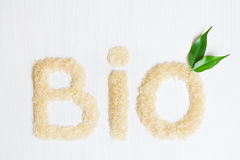 Bio rice cereals on a white background. With green leaves Stock Image