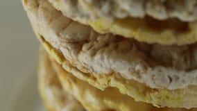 Bio Rice and Corn cakes. Rice and Corn cakes bio stock video