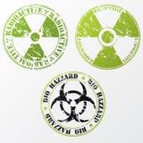 Bio- rischio ed insieme radioattivo del bollo illustrazione vettoriale