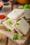 Bio sandwich with mayo, cheese and ham. Food photography Royalty Free Stock Photography