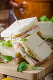 Bio sandwich with mayo, cheese and ham. Food photography Royalty Free Stock Images