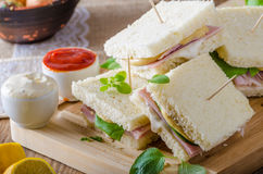 Bio sandwich with mayo, cheese and ham. Food photography Royalty Free Stock Photo