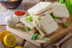 Bio sandwich with mayo, cheese and ham. Food photography Stock Image