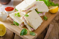 Bio sandwich with mayo, cheese and ham. Food photography Stock Images