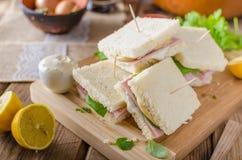 Bio sandwich with mayo, cheese and ham. Food photography Stock Photo
