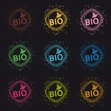 Bio Scribble Buttons - Colorful Vector Illustration - Isolated On Black Background royalty free illustration