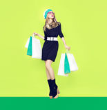 Bio shopping girl. On green background Royalty Free Stock Images