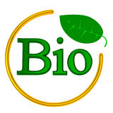 BIO sign, 3d. Green 3d sign BIO in golden circle with leave Royalty Free Stock Image