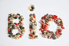 Bio sign. Made from seeds Royalty Free Stock Photo