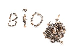 BIO sign in sunflower seed on white background stock photos