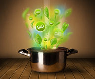 Bio signs coming out from cooking pot Royalty Free Stock Image