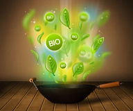 Bio signs coming out from cooking pot Royalty Free Stock Images