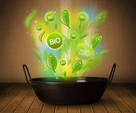 Bio signs coming out from cooking pot. Healthy bio signs coming out from cooking pot Stock Photo