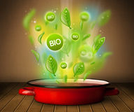 Bio signs coming out from cooking pot Stock Image
