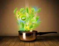 Bio signs coming out from cooking pot Royalty Free Stock Photography