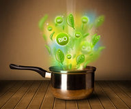 Bio signs coming out from cooking pot Royalty Free Stock Photo