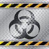 Bio sinal de aviso do hazzard na placa metálica ilustração stock