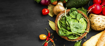 Bio spinach basket with vegetables Royalty Free Stock Photography