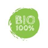 Bio stämpel för 100 procent för Grunge naturgummi, illustration Royaltyfri Foto
