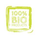 Bio stämpel för 100 procent för Grunge naturgummi, illustration Fotografering för Bildbyråer
