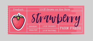 Strawberry sticker and eco products. Strawberry web element, Isolated Vector. Bio sticker and eco products. Strawberry web element, Isolated Vector. On a white royalty free illustration