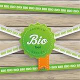 Bio Sticker Lines Bio Food Wood Stock Images