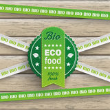 Bio Sticker Lines Eco Food Wood Stock Photography