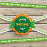 Bio Sticker Lines Natural Food Wood Stock Images
