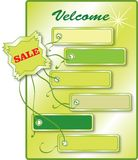 Bio stickers set. Advertising collection labels in green color on the poster, vector Stock Images