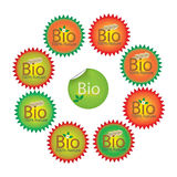 Bio stickers. Set of eight stamps bio Stock Photography