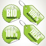 Bio stickers and tags. Set of four glossy bio stickers and tags Royalty Free Stock Image
