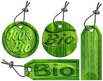 Bio Tag verdes - 4 artigos Imagens de Stock