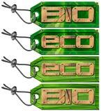 Bio Tag verdes de Eco - 4 artigos Fotografia de Stock