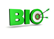 Bio Target. Biological concept with bio sign, target and two arrows on green centre. On white background Royalty Free Stock Images