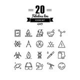 Bio technology elements line icons set. Thin lines icons set of scientific experiments, bio technology genome testing, alien life form hazardous materials Royalty Free Stock Images