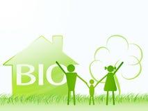 bio tema för grönt hus för ekologifamilj Fotografering för Bildbyråer