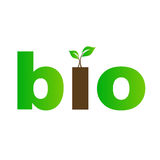 Bio text with green leaves. Eco friendly Stock Photography