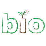 Bio text with green leaves. Eco friendly Stock Photo