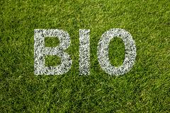 Bio text written on grass Royalty Free Stock Photos