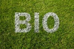 Bio text written on grass Royalty Free Stock Photos