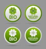 Bio- und Naturproduktabzeichenikonen Lizenzfreies Stockbild