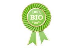 100% bio utmärkelse, pris, medalj eller emblem med band framförande 3d stock illustrationer