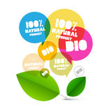 BIO. Vector 100% Natural Product Labels. Colorful Transparent Bubbles with Green LEaves on White Background Stock Image