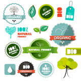 Bio Vector Organic Natural Product Flat Design Labels. Tags - Stickers Set Isolated on White Background Stock Images