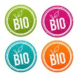 Bio vegan badges set eps10 vector. Healthy and Bio buttons Stock Images