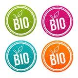Bio vegan badges set eps10 vector. Healthy and Bio buttons stock illustration