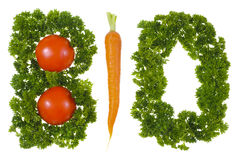 Bio vegetable. Parsley and vegetable form the word bio for healthy food Stock Photography
