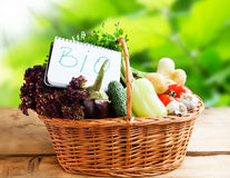 Bio Vegetables in a Basket with Bio Note Royalty Free Stock Photo